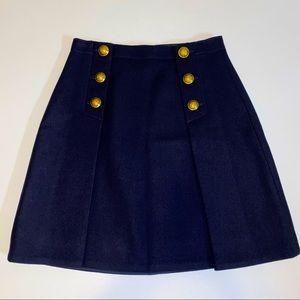 J Crew 100% Wool Nautical Sailor Pleated Skirt